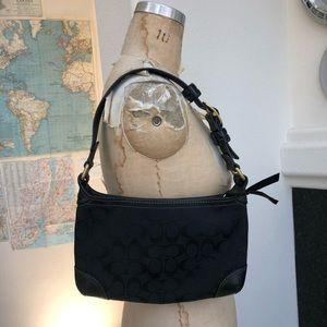 Vintage Coach shoulder bag black leather monogram